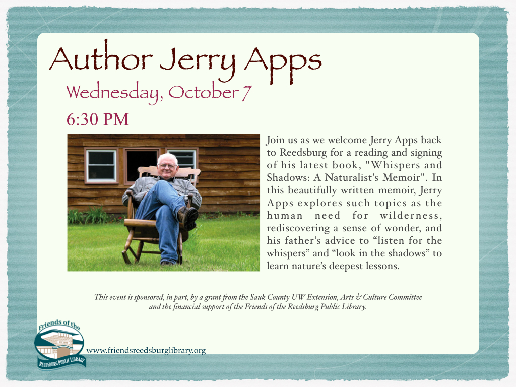 Author Visit: Jerry Apps | Reedsburg Public Library