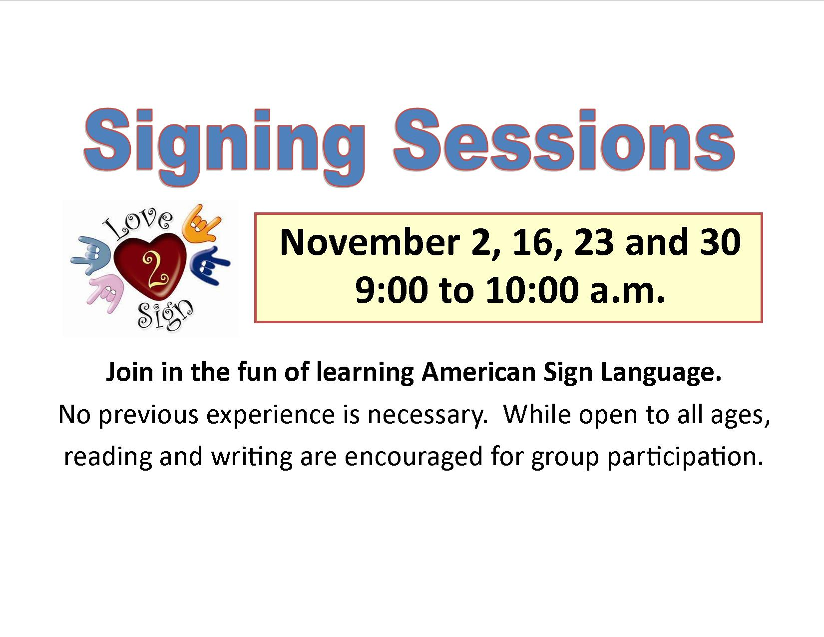 ASL Signing Sessions | Reedsburg Public Library